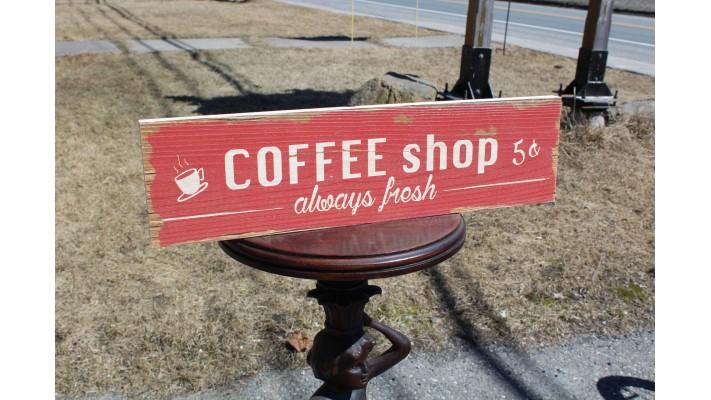 ENSEIGNE DE BOIS `` COFFEE SHOP ``