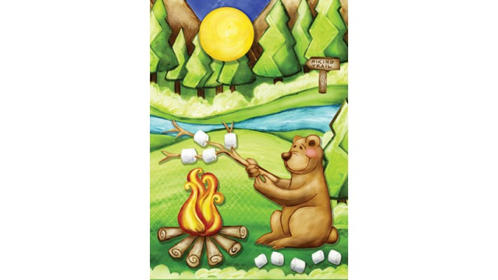 L'OURS EN CAMPING  ( GRAND 28 X 40)