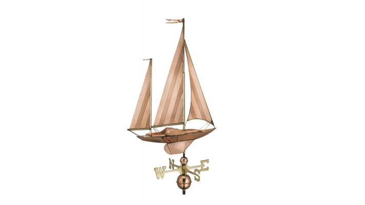 Girouette , girouette en cuivre grand voilier