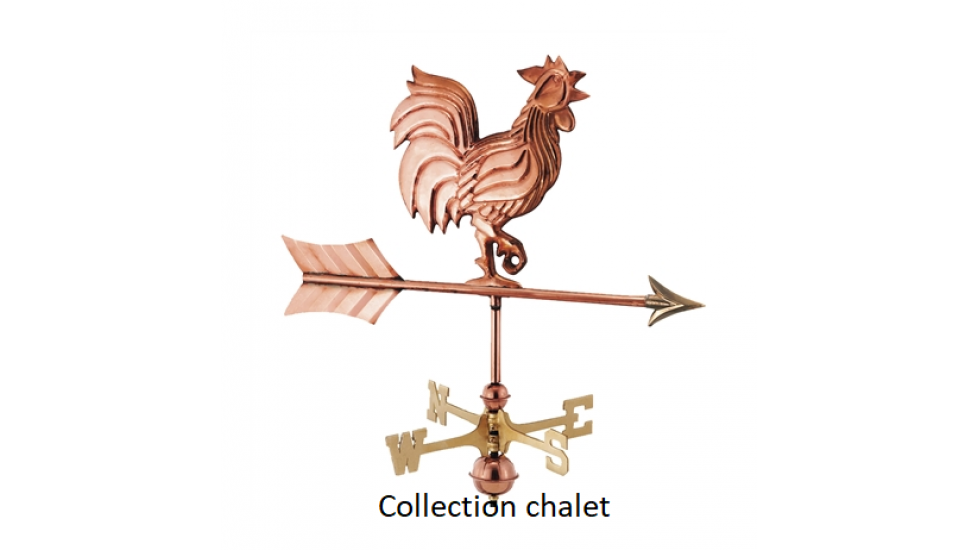 Girouette , girouette en cuivre coq , collection chalet